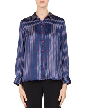 Gerard Darel Laurette Striped Satin Button-Down Shirt