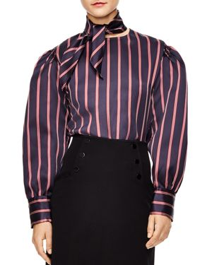 Sandro Zoe Oversized Striped Cropped Top