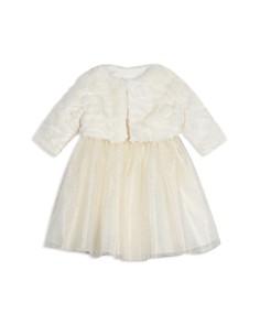 Pippa & Julie - Girls' Faux-Fur Jacket, Shimmer Tutu Dress & Bloomers Set - Baby