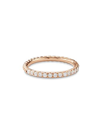 David Yurman - Cable Pavé Band Ring in 18K Rose Gold with Diamonds