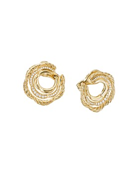 David Yurman - Tides Hoop Earring in 18K Yellow Gold with Diamonds