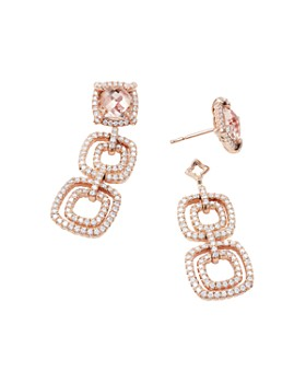 David Yurman - Chatelaine Pave Bezel Triple Drop Earring in 18K Rose Gold with Morganite