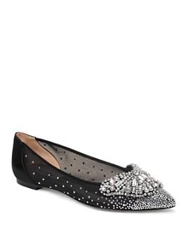 Badgley Mischka - Women's Quinn Crystal Embellished Pointed Toe Flats