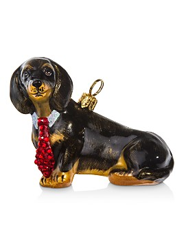 Joy to the World - Dachshund with Crystal Tie Ornament