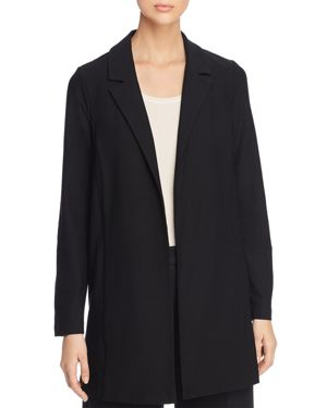 Open-Front Long-Sleeve Stretch Crepe Jacket, Plus Size in Black
