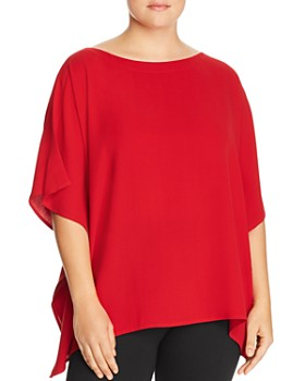 5c39ada427 Eileen Fisher Plus - Silk Slit-Sleeve Poncho Top ...