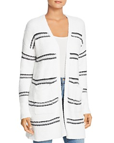 Marled - Striped Chenille Open Cardigan