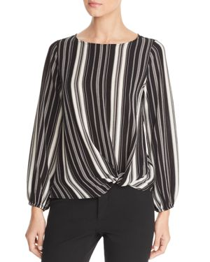 STATUS BY CHENAULT Status By Chenault Striped Twist Front Top in Black/White