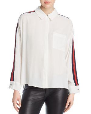 VELVET HEART Sabella Ribbon-Stripe Shirt in Red/Navy Stripe