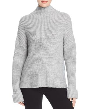 MARLED Chunky-Knit Mock-Neck Sweater in Heather Gray