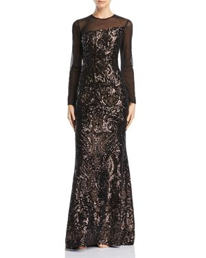 AVERY G Sequined Illusion Gown in Black/Bronze