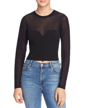 Bardot Long Sleeve Bustier-Detail Cropped Sweater