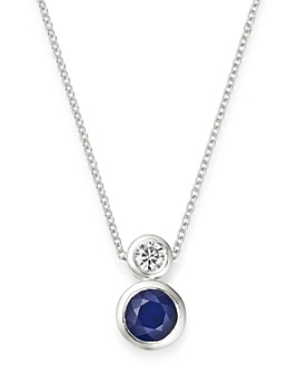 "Bloomingdale's - Blue Sapphire & Diamond Bezel Set Pendant Necklace in 14K White Gold, 18"" - 100% Exclusive"