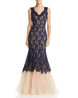 NHA KHANH Lace & Tulle Gown in Navy