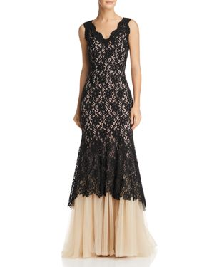 NHA KHANH Lace & Tulle Gown in Black