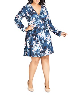 City Chic Plus - Luna Floral Wrap Dress