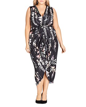 48be40c4eab City Chic Plus - Hothouse Floral Belted Midi Dress ...