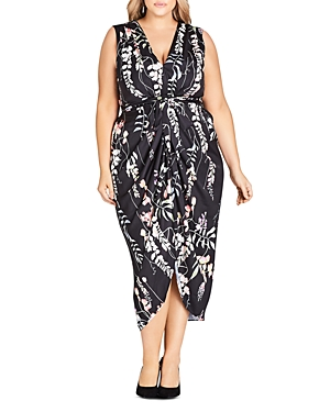City Chic Plus Hothouse Floral Belted Midi Dress