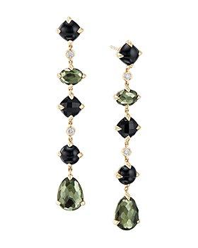 David Yurman - Châtelaine®  Multi Drop Earrings in 18K Yellow Gold with Green Orchid, Black Onyx & Diamonds