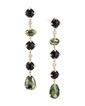 David Yurman - Chatelaine Multi Drop Earrings in 18K Yellow Gold with Green Orchid, Black Onyx & Diamonds