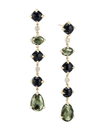David Yurman - Châtelaine®  Multi Drop Earrings in 18K Yellow Gold with Green Orchid, Black Onyx & Diamonds