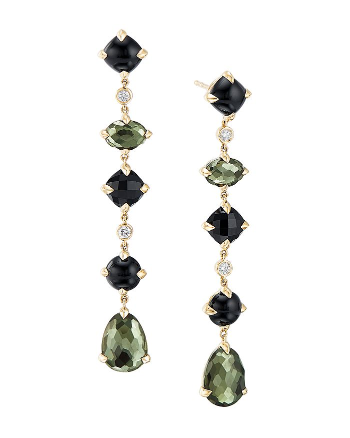 David Yurman CHATELAINE MULTI DROP EARRINGS IN 18K YELLOW GOLD WITH GREEN ORCHID, BLACK ONYX & DIAMONDS