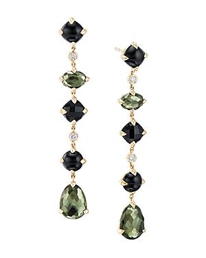 David Yurman Chatelaine Multi Drop Earrings in 18K Yellow Gold with Green Orchid, Black Onyx & Diamonds