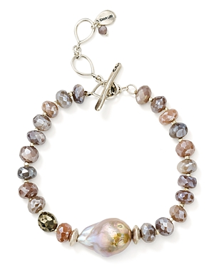 Chan Luu Beaded Stone & Cultured Freshwater Pearl Toggle Bracelet in 18K Gold-Plated Sterling Silver & Sterling Silver