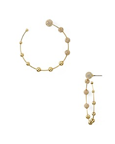 Rebecca Minkoff - Pavé Sphere Open Frontal Hoop Earrings