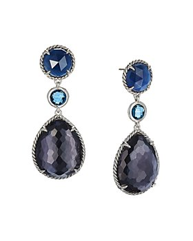 David Yurman - Châtelaine®  Teardrop Earrings with Black Orchid, Indian Blue Sapphire & Hampton Blue Topaz