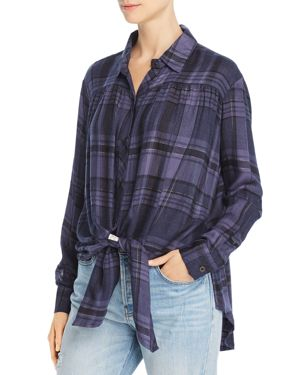 VINTAGE HAVANA Tie-Front Plaid Shirt in Navy