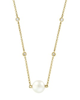 """Bloomingdale's - Freshwater Pearl & Diamond Bezel Station Necklace in 14K Yellow Gold, 18"""" - 100% Exclusive"""