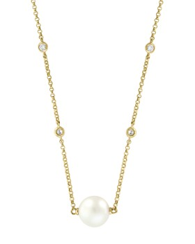 "Bloomingdale's - Freshwater Pearl & Diamond Bezel Station Necklace in 14K Yellow Gold, 18"" - 100% Exclusive"