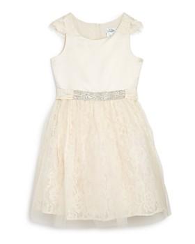 US Angels - Girls' Embellished Satin & Lace Dress - Big Kid