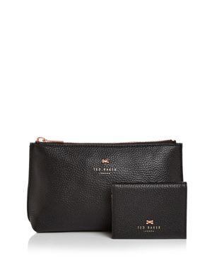 Fabiana Bow Wash Bag & Mirror Travel Set in Black/Rose Gold