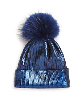 GiGi - Girls' Metallic Fur Pom Hat - 100% Exclusive
