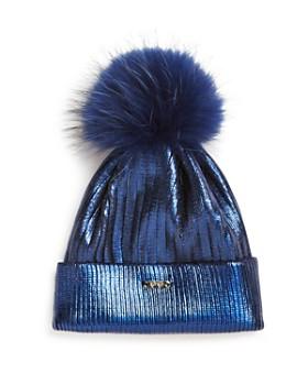 GiGi - Girls' Metallic Fur Pom Hat - 100% Exclusive