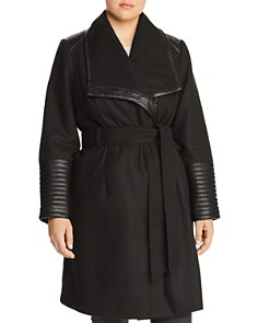 Bagatelle Plus - Faux Leather Trim Belted Coat