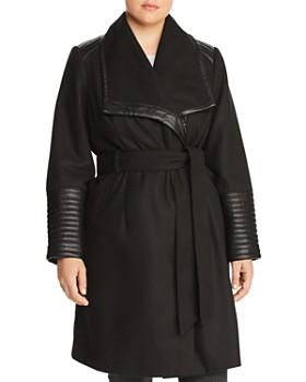 Bagatelle Plus - Faux Leather Trim Belted Coat
