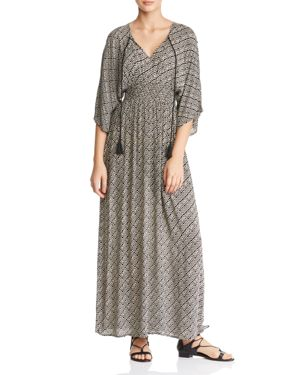 EN CREME Smocked Abstract Geo-Print Maxi Dress in Black/Ivory