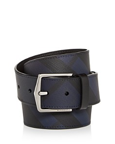 Burberry - Men's Joe London Check Embossed Leather Belt