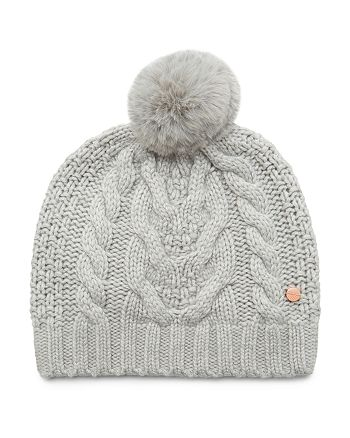 d10d0a44aa82f Ted Baker - Quirsa Faux Fur Pom-Pom Cable-Knit Beanie