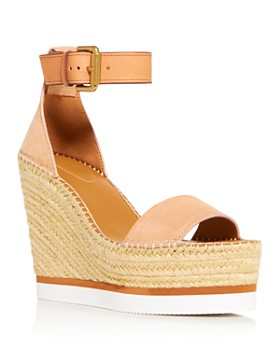 d4b927ba405 See by Chloé - Women s Glyn Leather Espadrille Platform Wedge Ankle Strap  Sandals ...