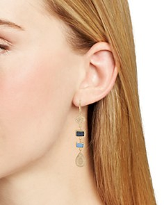 Anna Beck - Sapphire & Hematite Geometric Drop Earrings in 18K Gold-Plated Sterling Silver