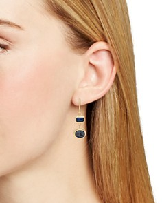 Anna Beck - Sapphire & Hematite Drop Earrings in 18K Gold-Plated Sterling Silver