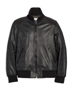 COACH - Signature-Print Leather Track Jacket