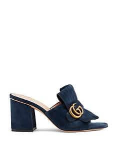 Gucci - Women's Marmont Open-Toe Suede Mid-Heel Slide Sandals