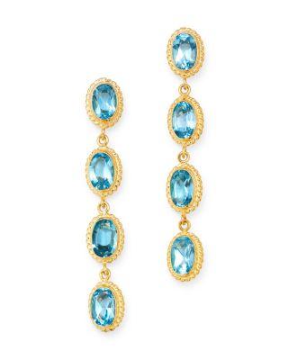 Multi-Gemstone Oval Bezel Set Drop Earrings in 14K Yellow Gold - 100% Exclusive