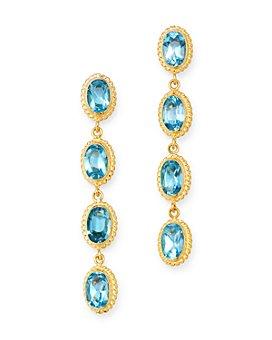 Bloomingdale's - Blue Topaz Oval Bezel Set Drop Earrings in 14K Yellow Gold - 100% Exclusive