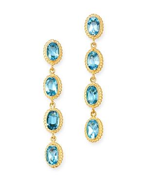 Bloomingdale's Blue Topaz Oval Bezel Set Drop Earrings in 14K Yellow Gold - 100% Exclusive